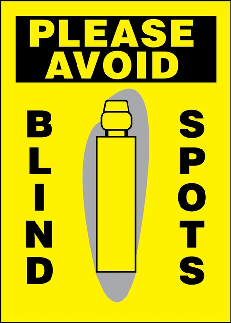 Please Avoid Blind Spots Sign (w/graphic)