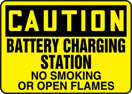 Caution - Battery Charging Station No Smoking Or Open Flames - Aluma-Lite - 10'' X 14''