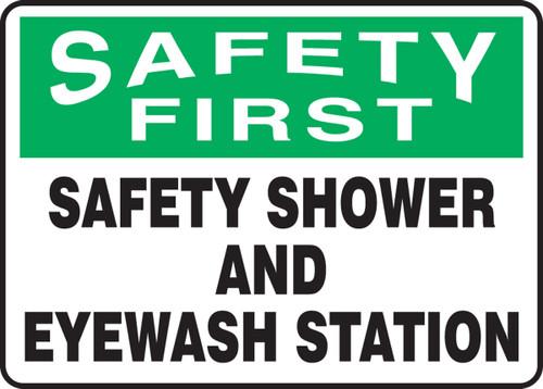 Safety First - Safety Shower And Eyewash Station - Adhesive Vinyl - 10'' X 14''