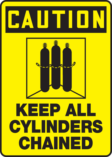 Caution - Keep All Cylinders Chained (W/Graphic) - .040 Aluminum - 14'' X 10''