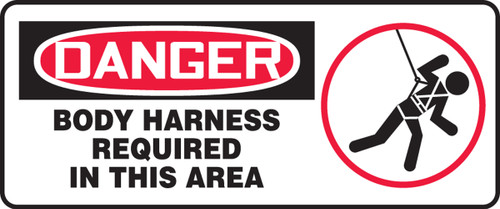 Danger - Body Harness Required In This Area (W/Graphic) - Adhesive Dura-Vinyl - 7'' X 17''