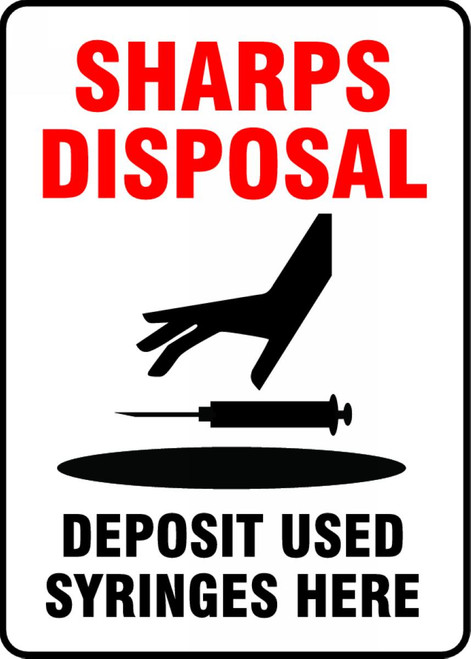 MBHZ517VA Sharps Disposal Deposit Used Syringes Here Sign