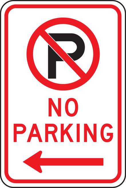 No Parking Sign with Left Arrow
