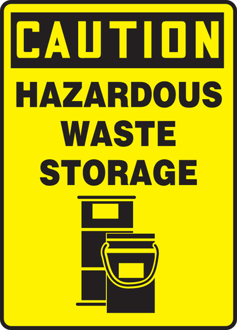 Caution - Hazardous Waste Storage (W/Graphic) - Re-Plastic - 14'' X 10''