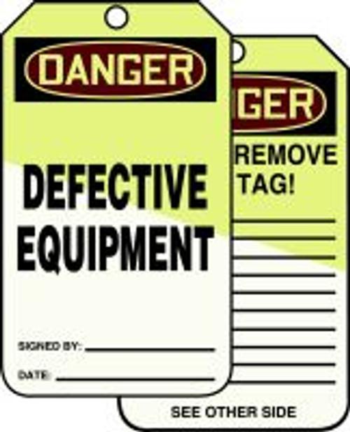 Danger Defective Equipment Tag- Lumi Glow Tag