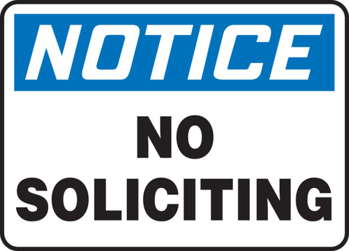 Notice - No Soliciting - Plastic - 7'' X 10''