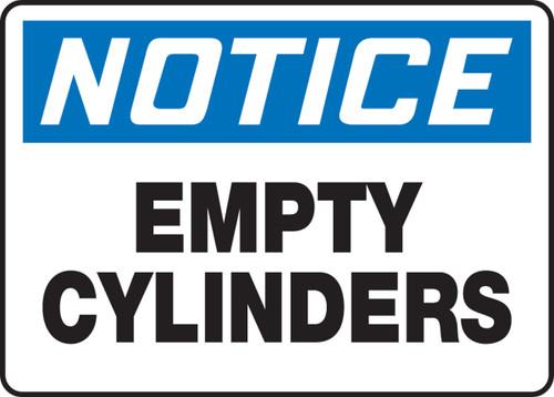 Notice - Empty Cylinders - Plastic - 7'' X 10''