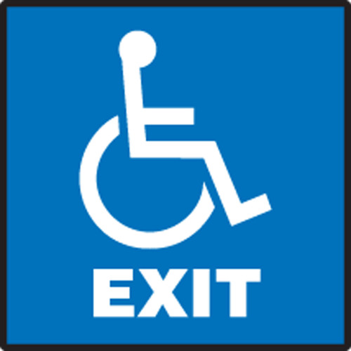 Exit (W/Graphic) - Adhesive Dura-Vinyl - 7'' X 7''