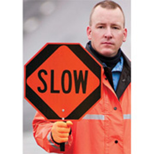 Stop- Slow Paddle Sign with Aluminum Handle