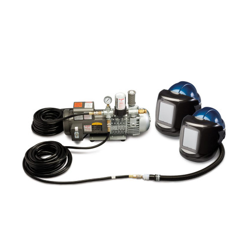 Allegro 9249-02 Two-Worker Deluxe Shield & Welding Helmet System, 50' Hose & #10 Lens