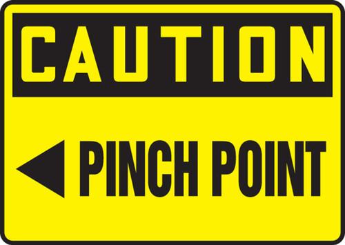Caution - Pinch Point (Arrow Left) - Adhesive Vinyl - 7'' X 10''