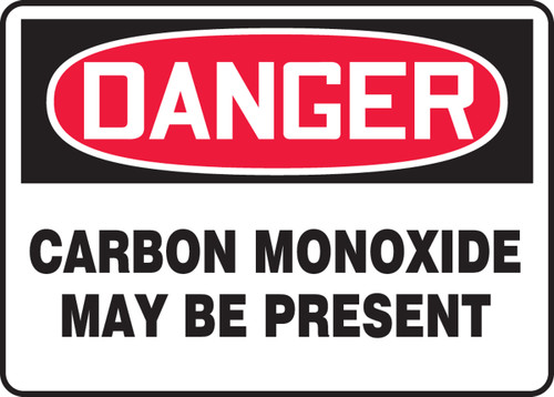 Danger - Carbon Monoxide May Be Present - Dura-Plastic - 10'' X 14''