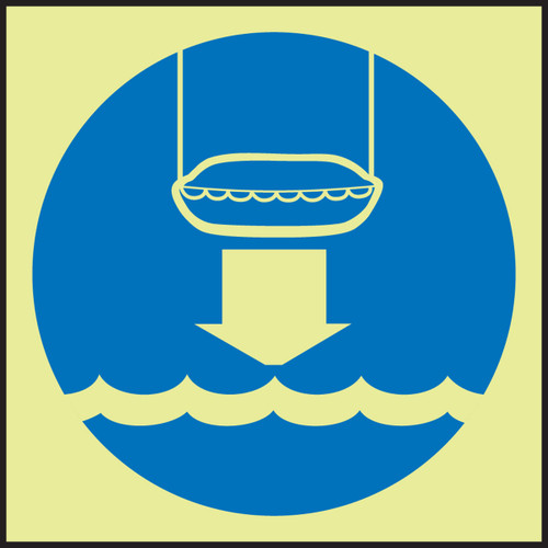 Lower Life Boat To Water IMO Sign