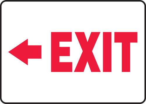 (Arrow Left) Exit - Adhesive Dura-Vinyl - 10'' X 14''