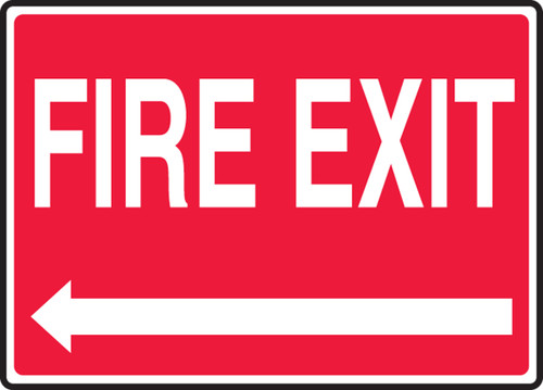 Fire Exit (Left Arrow) - .040 Aluminum - 7'' X 10''