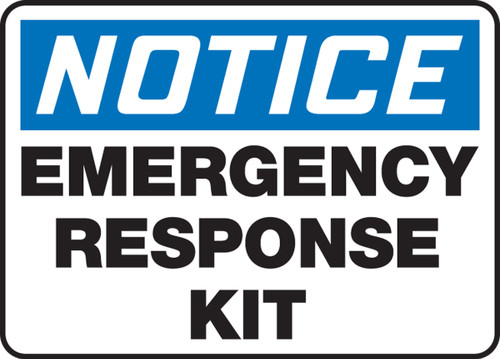 Notice - Emergency Response Kit - Adhesive Vinyl - 10'' X 14''