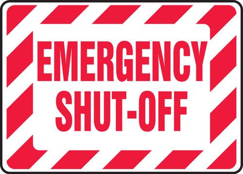 Emergency Shut-Off - Adhesive Vinyl - 10'' X 14''