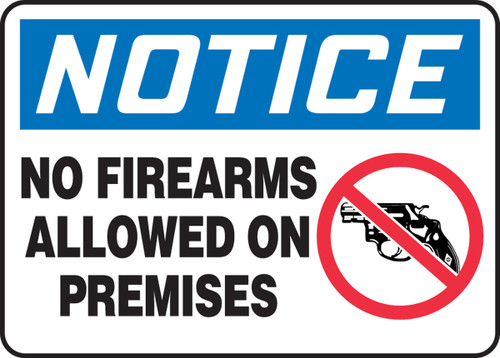 Notice - No Firearms Allowed On Premises (W/Graphic) - Adhesive Dura-Vinyl - 5'' X 7''