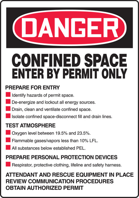 Danger - Confined Space Enter By Permit Only Prepare For Entry ... Test Atmosphere Sign