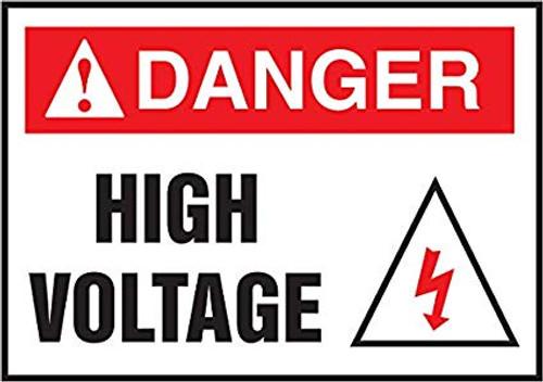Danger High Voltage (Danger Haute Tension) - Adhesive Vinyl - 14'' X 10'' 2