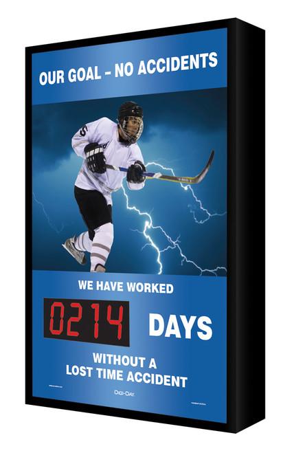 Digi Day Electronic Safety Scoreboard- Backlit LED Lite- Our Goal- No Accidents SCF214