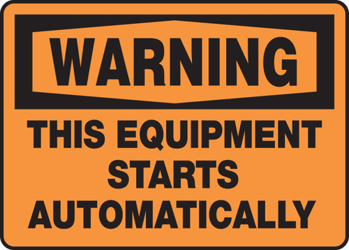 Warning - This Equipment Starts Automatically - Adhesive Vinyl - 10'' X 14''