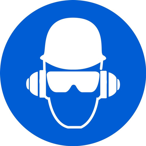 Wear Head, Hearing, & Eye Protection - Adhesive Vinyl - 6''