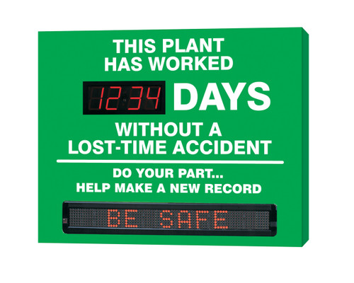 Accuform SMT247 Digi Day Moving Message Safety Scoreboard