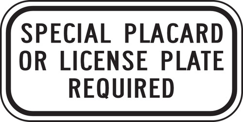 California Handicap Special Placard Or License Plate Required