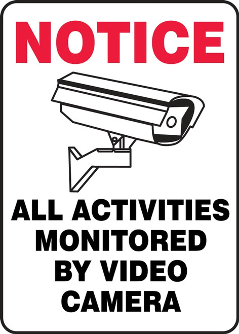 All Activities Monitored By Video Camera (W/Graphic) - Adhesive Dura-Vinyl - 10'' X 7''