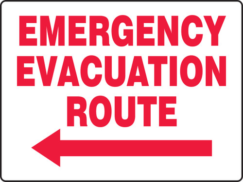 Emergency Evacuation Route Sign with Arrow Left