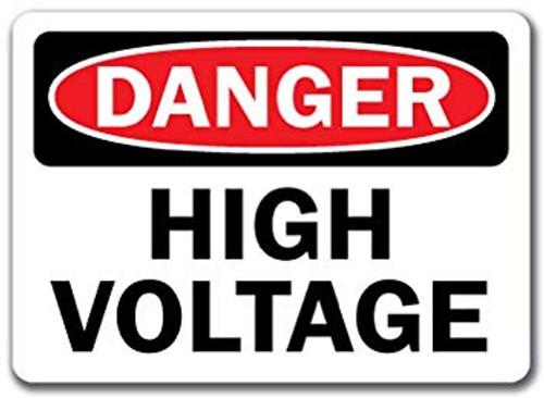 Danger High Voltage (Danger Haute Tension) - Plastic - 14'' X 10'' 2