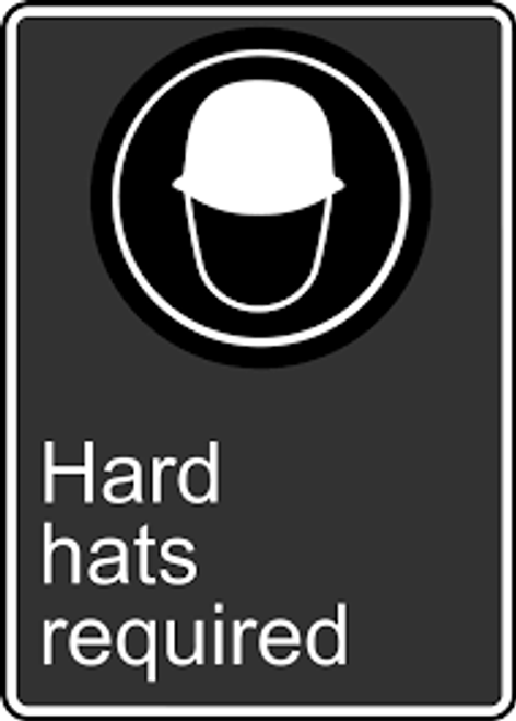 Hard Hats Required (Casques De Protection Obligatoires) - Plastic - 14'' X 10'' 2