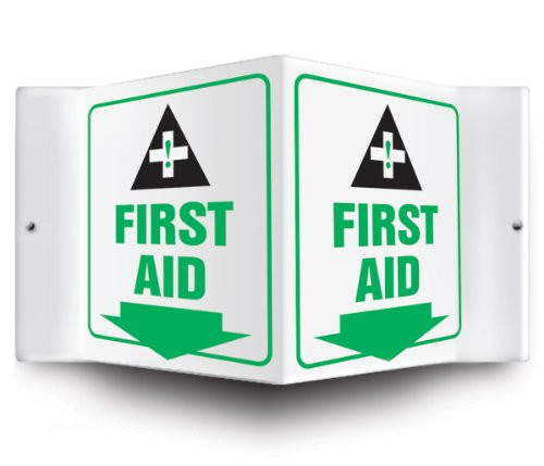 """First Aid - 3D 6"""" x 5"""" - Safety Panel - Projection Sign"""