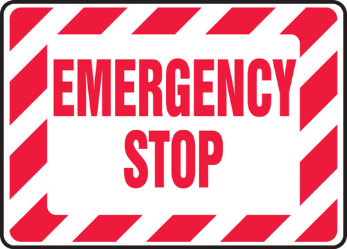 Emergency Stop Sign - Red and White