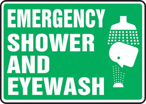 "Emergency Shower And Eyewash Sign 10"" x 14"" Plastic"