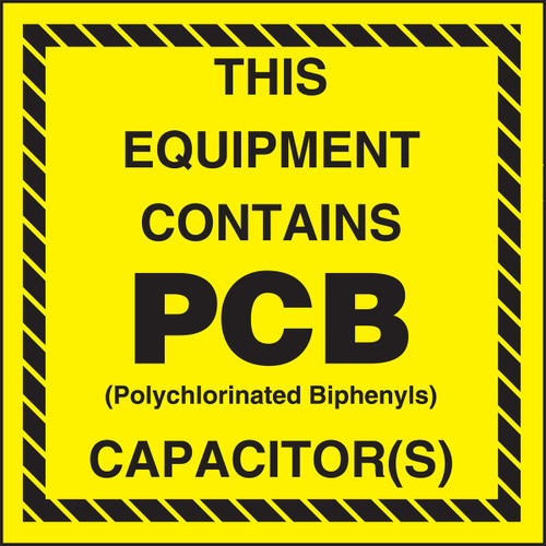 This Equipment Contains PCB polychlorinated Biphenyls Capacitor
