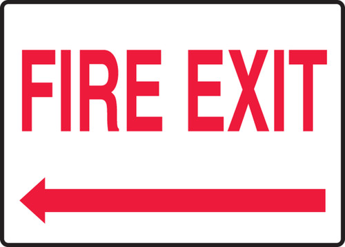 Fire Exit (Arrow Left) - Adhesive Dura-Vinyl - 7'' X 10''
