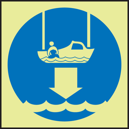 Lower Rescue Boat IMO Sign