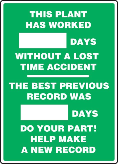 Write A Day Safety Scoreboard 28 x 20 Aluminum 5