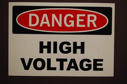 Electric Voltage Hazard - Adhesive Vinyl - 6''
