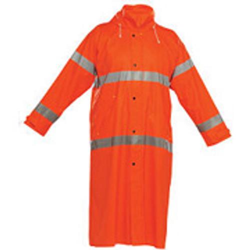 Reflective Rain Jacket Long- Orange-X Large