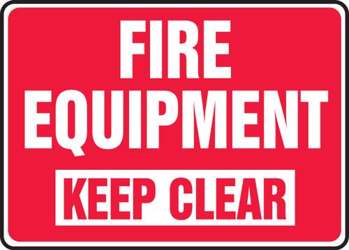 Fire Equipment Keep Clear - Adhesive Dura-Vinyl - 10'' X 14''
