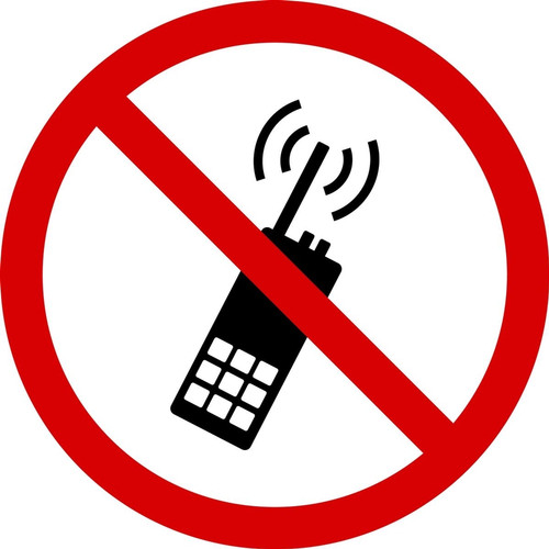 MISO526 ISO Prohibition safety sign- no activated mobile phone sign