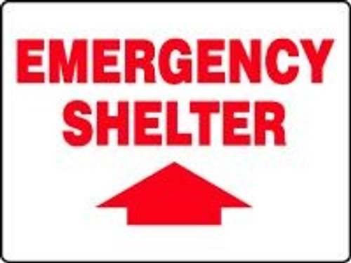 Emergency Shelter Sign with Arrow Up