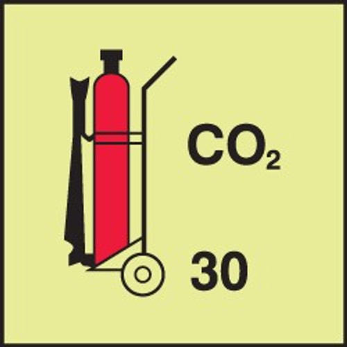 Wheeled Fire Extinguisher - Co2 IMO Sign