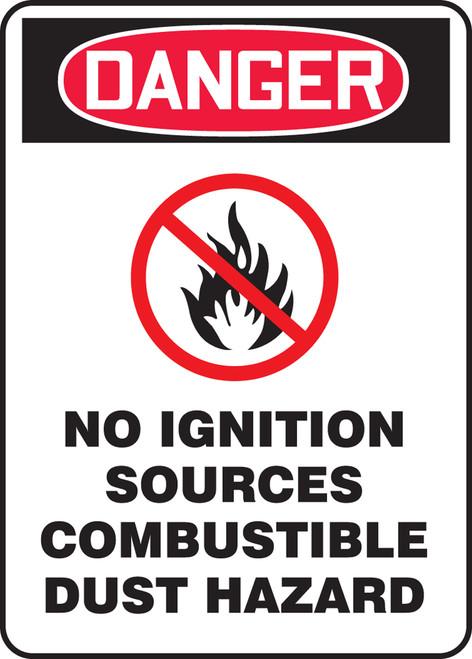 Danger - Danger No Ignition Sources Combustible Dust Hazard W/Graphic - Adhesive Dura-Vinyl - 10'' X 7''