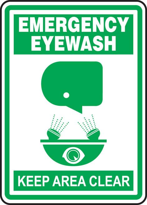 Emergency eyewash keep area clear sign MFSD518