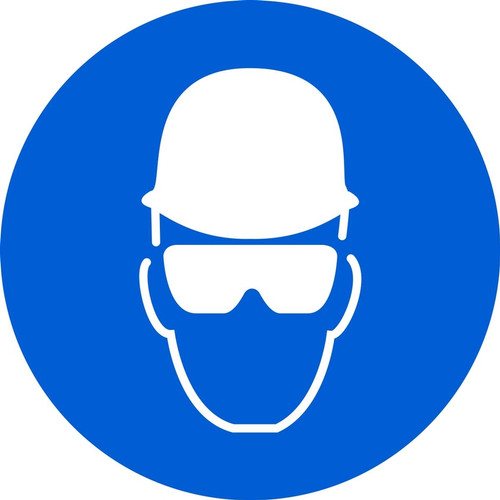 MISO118 ISO mandatory safety sign- wear head and eye protection sign