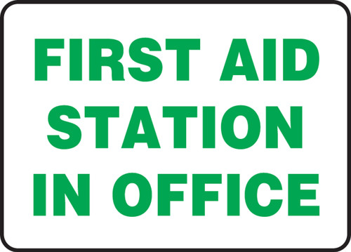 First Aid Station In Office - Adhesive Vinyl - 10'' X 14''